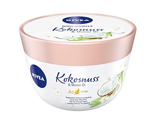 NIVEA Body Soufflé Kokosnuss & Monoi Öl (200 ml), Körperpflege für 24h Feuchtigkeit, Lotion für trockene und sehr trockene Haut
