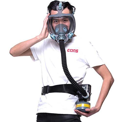 Realistisch gasmasker, Volgelaats gasmasker, chemisch ontgiftingsgasmasker, met ventilator, 50cm kanaal