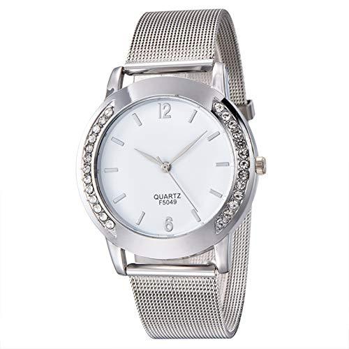 Haoooan Reloj Boys Diseño Simple De Las Mujeres Rhinestone De La Joyería De Plata De Oro De La Aleación Correa De Reloj De Lujo Señora Pulsera Reloj De Pulsera De Cuarzo (Color : Silver)