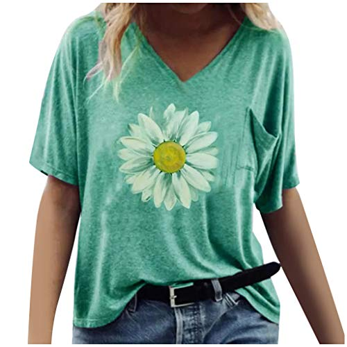 Best Price Dosoop Womens Short Sleeve with Pocket Daisy Print Printed V-Neck T-Shirt Top Summer Loos...