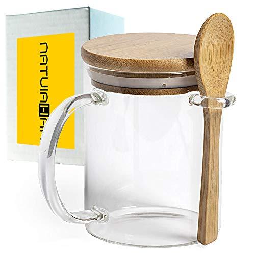 Natuiahan Taza de Vidrio de Borosilicato Premium Tapa y Cuchara de Bambú Pulido. Resistencia y Durabilidad Excepcionales. Taza Grande de 420 ml para Bebidas Calientes. Incluye Caja de Regalo
