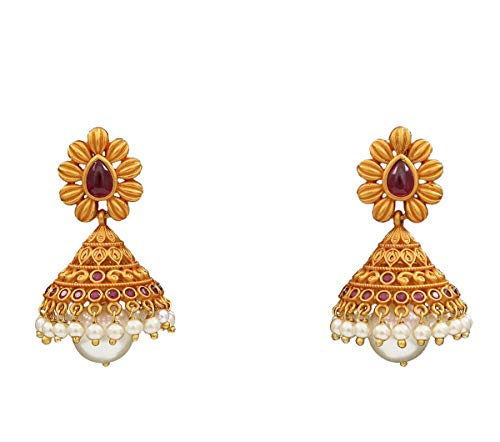 JewelryGift Beautiful Jhumki Earrings Gold Plated Ruby, Pearl Embellished Ethnic Rich Designer Jewellery for Wife Sister ME 89-PINK
