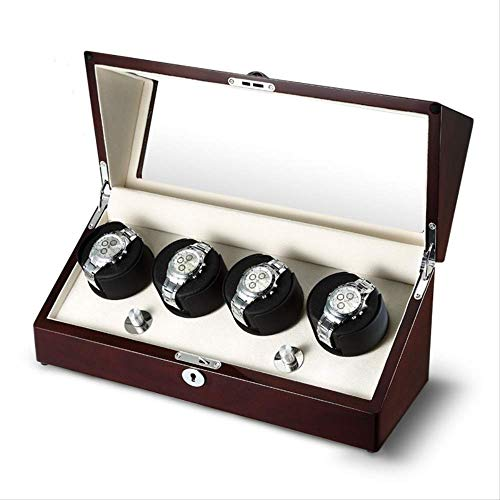 SQSHWL Reloj Winder Box Storage Shaker Display Automático de Madera Cuatro Motores...