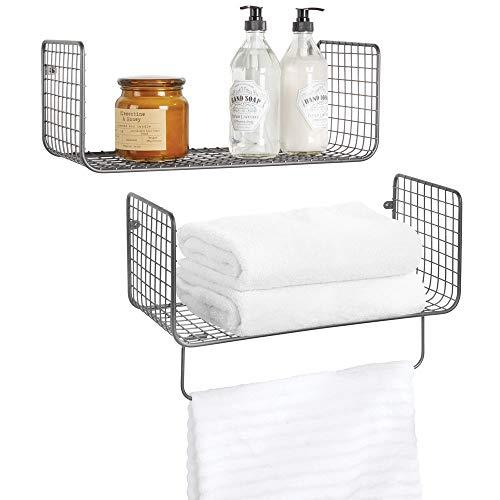 mDesign Wandregal – vielseitig verwendbares Metallregal für Badezimmer, Garage oder Waschküche...