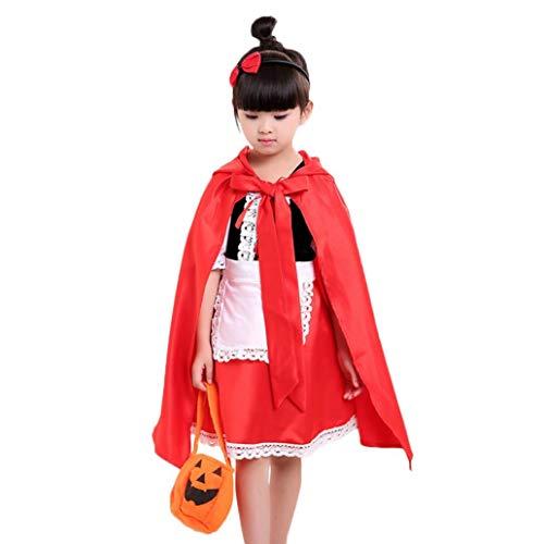 Longra_Halloween Halloween Costume,Longra Vestito Da Ragazza Carnevale Cosplay Cappuccetto Rosso Abiti Da Partito Vestito Da Costume, Princess Dress + Mantello Rosso + Sacchetto Di Zucca