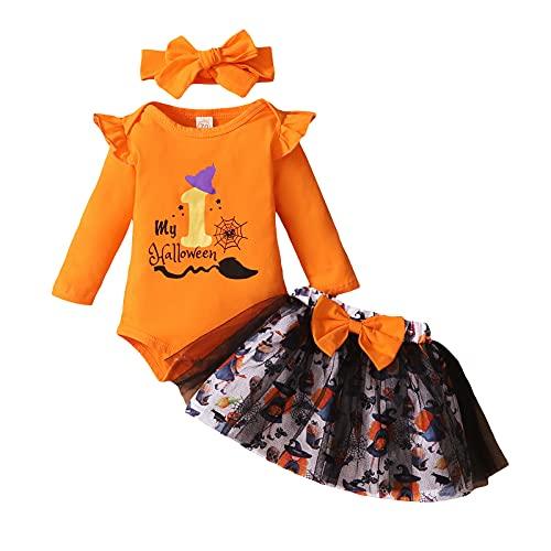 Conjunto de 3 piezas para Halloween de bebé niña con lazo + camiseta estampada de manga larga de encaje + falda corta de gasa estampada, naranja, 6-12 Meses