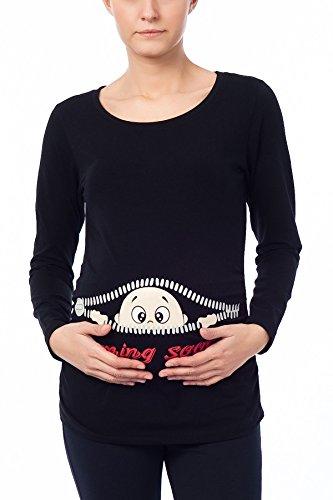 Coming Soon - Ropa premamá Divertida y Adorable, Camiseta con Estampado, Regalo Durante el Embarazo - Manga Larga (Negro, Large)