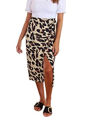 GAMISOTE Womens Midi Skirt Leopard Print Chiffon Beach High Waisted Wrap Pencil Skirts Brown