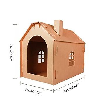 Lazder - Maison de Chat en Carton pour Chat - Grattoir pour Chat - Maison de Couchage - Jouet Griffe