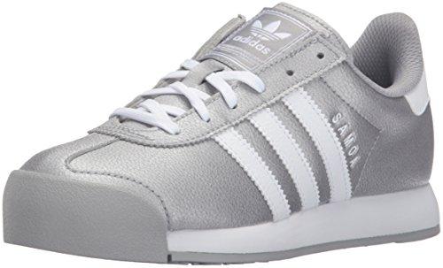 adidas Originals Girls Samoa J Running Shoe, Mid Grey/White/Mid Grey S, 7 Little Kid
