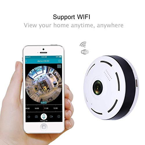 Creative dizayn Fish Eye Black Circle Wireless 360* Panoramic WiFi IP Camera with Infrared Night Vision,Live View,Two Way Communication, Motion Detection, Remote View On Mobile(Pack of 4)