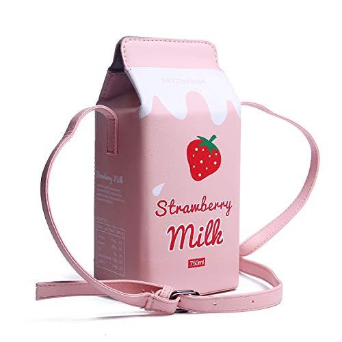 Lanpet Women Unique Purse Girls Fruits Banana Strawberry Milk Box Cross body Bag Mobile phone Wallet Purse