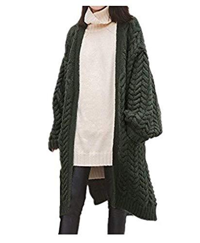 Strickmantel Damen Elegante Herbst Winter Warm Longsleeve Pullover Mantel Jungen Chic Lange Unifarben Freizeit Fashion Mit Taschen Outerwear Oberbekleidung Hochwertigem