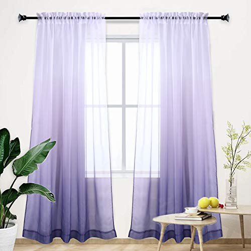 Gradient Curtain Light Purple Ombre Semi Sheer Curtain Girls Bedroom Curtain Panel Drapes Voiles for Windows/Living Room/Kids Room/Closet Set of 1 Panel 95 inches Lavender