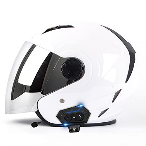 Casco Moto Jet Homologado ECE DOT Casco Abierto Moto Con Bluetooth Para Respuesta Automática Medio Casco De Motocicleta Casco Semi Integral Moto Con Visera Solar Para Hombre Mujer White,M