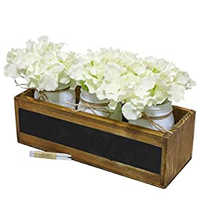 Mason Jar Centerpiece Decorative Wood Tray with Blackboard Chalkboard and Painted Mason Jars Artificial Flowers Hydrangeas Farmhouse Home Decor Centrepiece for Dining Room Table