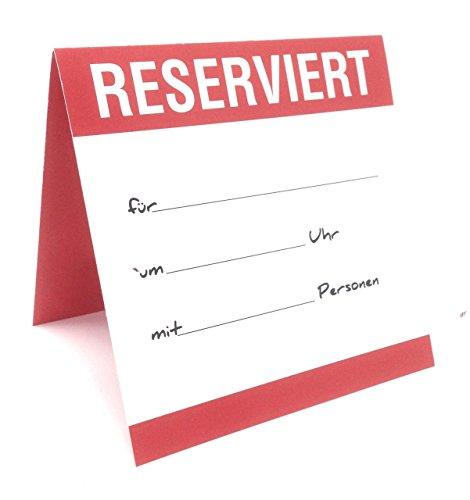 GastroWelt24 80 Stück Tischkarten Platzkarten Reserviert Aufsteller für die Tischreservierung in Restaurants; 9,8 x 9,8 cm geklappt (Rot, 80)