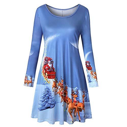 MRULIC Damen Blusenkleid Abendkleid Knielang Kleider Weihnachts Winterrock Festliches Kleid Mehrfarbig Verfügbar Schön Neujahr Herbst und Winter Kleid (EU-34/CN-S, L-Blau)