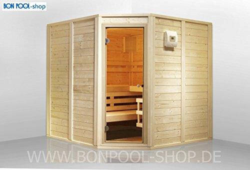 Sauna-Set, Fronteinstieg B x T x H 200x166x200 finnische Sauna 6kW BON POOL