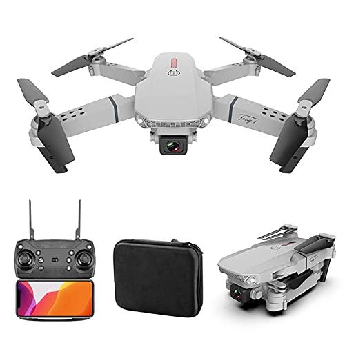 FMOGG Dron De Fotografía Aérea De Alta Definición 4K con Cámara Dual, Mini Dron E88, Alta Resistencia, Altura Ajustable Y Avión De Control Remoto Plegable De Cuatro Ejes (Más 1 Batería De Repuesto)