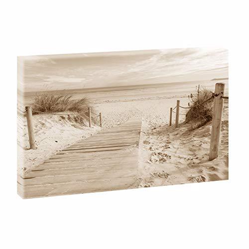 Querfarben Bild auf Leinwand mit Landschaftsmotiv Holzsteg zum Meer   80 x 120 cm, Sepia, Wandbild, Leinwandbild mit Kunstdruck, Nordseebild mit Strandmotiv auf Holzrahmen gespannt, 80x120 cm