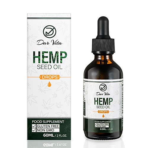 Dar Vita Hemp Seed Oil,Rich in Omega 3,Omega 6,Omega 9 Balanced Diet,60ML Contain 2000 Milligrams of Hemp Seed Oil.