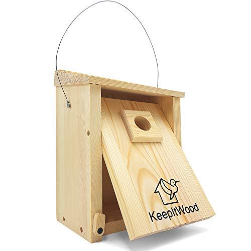 KeepItWood Nistkasten aus Kiefernholz - Zum Aufhängen oder Anschrauben - Vogelhaus für Kleine Vögel wie Meise, Spatz oder Rotkehlchen - INKLUSIVE Räuberschutz und Klapptüre