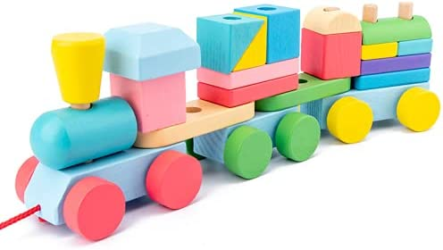 Weide,Wooden Stacking Train,Train Toy,Puzzle Toys Preschool Educational Toys,(21pcs)