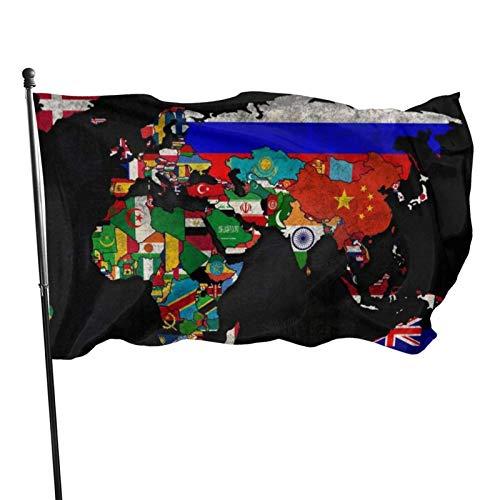 AOOEDM Mapa político estacional del mundo (2) Bandera de jardín, Bandera de patio - 3 x 5 pies