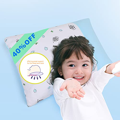 Toddler Pillow with Pillowcase, Kids Pillows for Sleeping-13x18 100% Hypoallergenic Soft Cotton, Better Support Head & Neck, Perfect Bedding for Boys Girls Child Daycare / Nap time/ Travel / Crib