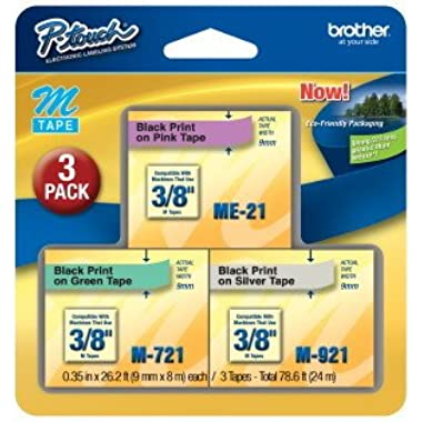 3/Pack 3/8  (9mm) P-touch M Tape Value Pack for Brother PT-110, PT110 Label Maker