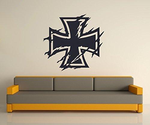 Wandtattoo XXL Eisernes Kreuz Wand Tür Aufkleber Tuning Sticker Bundeswehr Look Kette Iron Cross Oldschool Car 2P083, Hohe:120cm;Farbe XXL:Schwarz Matt