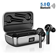 Bluetooth Headphones In Ear, Wireless Bluetooth Earphones Sports True Wireless Earbuds, 40H Playtime Dual-Mic Crystal Black Noise Canceling Stereo Type-C Port Touch Control for Running Gym