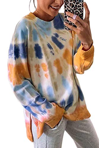 GOLDPKF Womens Crew Neck Sweatshirt Pullover Fashion Fluffy Plus Size Long Sleeve Fall Tie Dyed Loose Fancy Tops Workout Clothes Orange Medium