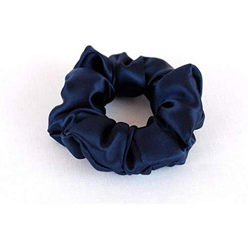 Scrunchie 100% Mulberry Silk 22momme Hair Tie pure natural soft boho vintage style beauty women girls (Navy)