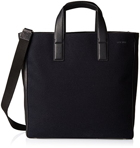 Jack Spade Men's Kahn Wool Leather Tote, Navy, One Size