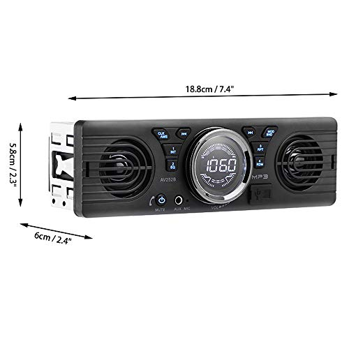 LSLYA 7 Color Backlight Universal Car Radio Stereo Receiver Single Din Bluetooth MMC//USB//SD//AUX//FM Player Hands-Free Calls 4 Channels Output Steering Wheel Remote Control Phone Charge