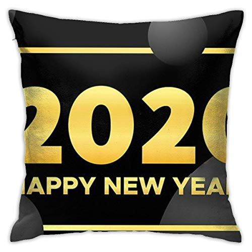 Throw Pillow Cover Cushion Cover Pillow Cases Decorative Linen Greating Happy New Year 2020 for Home Bed Decor Pillowcase,45x45CM
