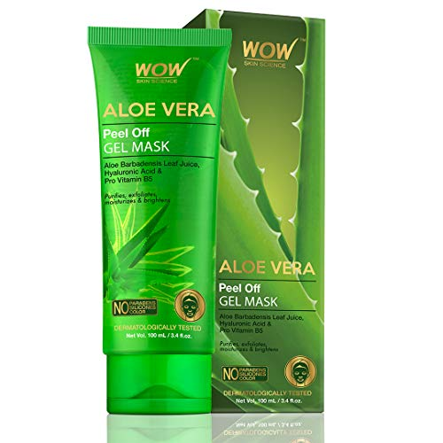 WOW Skin Science Aloe Vera with Hyaluronic Acid & Pro Vitamin B5 Peel Off Gel Mask - No Parabens, Silicones & Color - 100 mL