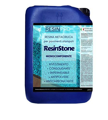Resin Pro - Resina Metacrilica Monocomponente ResinStone - Rivestimento Metacrilico per Pavimenti Stampati in Calcestruzzo, Consolidante, Impermeabile, Antipolvere, Anticarbonatante - 5 KG