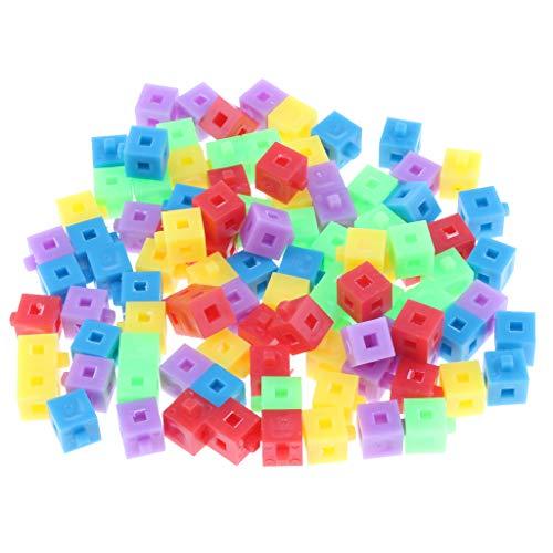 Almencla 100x Cubes Empilables Plastique 5 Couleurs Kit de Construction Pop Jouet