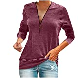 Meikosks Ladies V Neck Zipper T Shirt Long Sleeved Tops Solid Color Blouses Plus Size Pullover Red