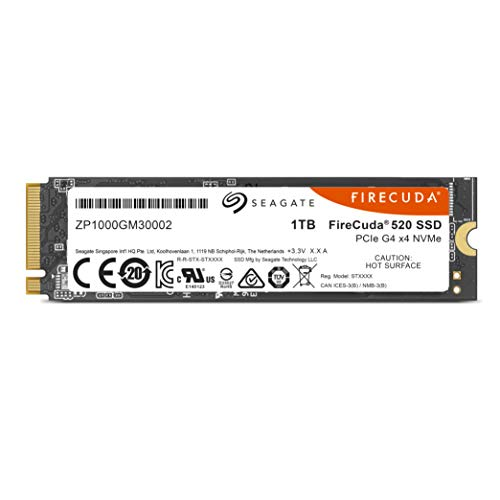 Seagate Firecuda 520 1TB Performance Internal Solid State Drive SSD PCIe Gen4 X4 NVMe 1.3 for Gaming PC Gaming Laptop Desktop (ZP1000GM3A002)