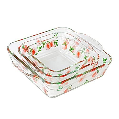 Utensilios Para Hornear Conjunto de platos de cazuela de vidrio, 3 piezas cuadradas para hornear - asas de agarre para facilitar el horno caliente a la mesa, brownie sartenes para la cena de pastel, c