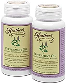 Heather's Tummy Tamers - Peppermint Oil Capsules with Ginger and Fennel for Irritable Bowel Syndrome ~ 90 softgels (Pack o...