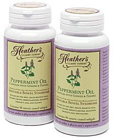 Heather's Tummy Tamers - Peppermint Oil Capsules with Ginger and Fennel for Irritable Bowel Syndrome ~ 90 softgels (Pack of 2)