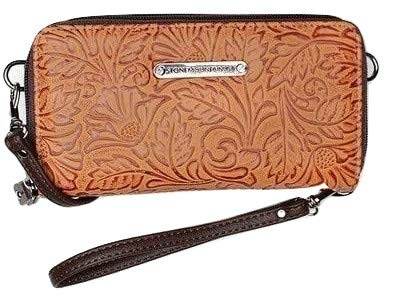 Stone Mountain Embossed Leather Crossbody Wallets (Cognac)