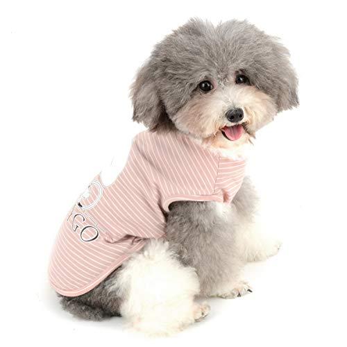 Zunea - Maglietta per cani di piccola taglia e ragazza, a righe, canotta estiva per cuccioli, gatti e animali domestici, in morbido cotone, colore: Rosa