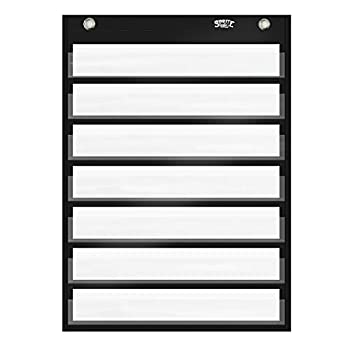 Magnetic Pocket Chart with 10 Dry Erase Cards for Standards,Daily Schedule,Activities,Class demonstrations  Black