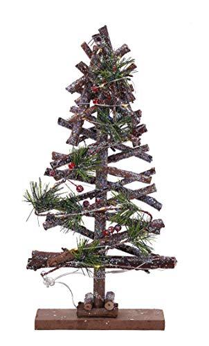 Holz Tannenbaum beleuchtet mit 15 LED - 37x20x6 cm - Weihnachts Deko Christ Baum Tischdekoration Fensterdekoration